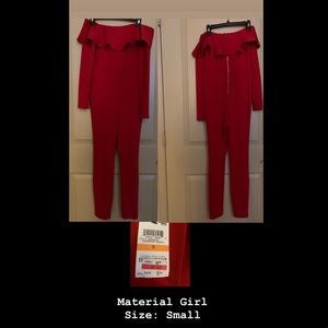 Material Girl Red Off The Shoulder Jumpsuit